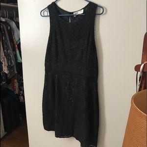 Black cocktail dress with nude inner lining